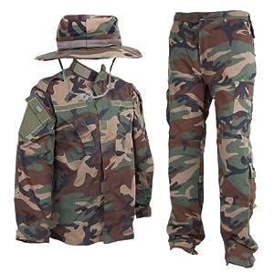 アメリカ陸軍 Woodland BDU 迷彩戦闘服 上下&ブーニーハットセットセット ウッドランド