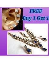 Buy 1 get 1 free blue double line kundan necklace