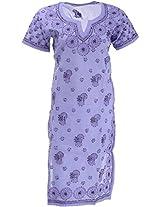 Lucknow Chikan Industry Women's Cotton Straight Kurta (LCI-377, Purple, S)