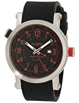 red line Men's RL-18003-01RD Compressor World Time Black Dial Black Silicone Watch