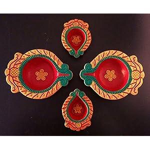 Hued Diwali Lamps Festive Bloom Combo