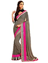 Pagli printed georgette saree in black with pink colour with silk blouse and border