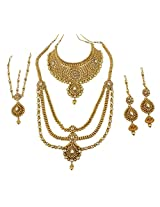 Gorgeous Bollywood Design Gold Plated Royal Look Bridal Necklace For Women Wedding Jewelry