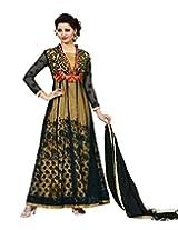 Style Mania Women's Semistitched Anarkali Suit (Black_Free Size)