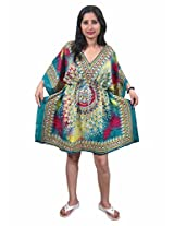 Indiatrendzs Women's Caftan Multicoloured Print Short Sexy Nightwear Nighty Dress