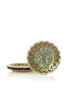 "Arda Glassware Set of 4 Romantic 8.5"" Dessert Plates (Turquoise/Brown)"