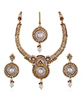 Variation Pearl Studded Gold Plated CZ Studded Necklace Set [Jewellery]