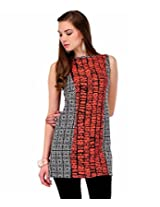 Yepme Karin Abstract Print Kurti - Black & Red - YPMKURT0488_XL
