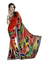 Raj Laxmi Women's Georgette Saree (Red)