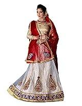 Manvaa Stylish White And Red Net lehenga