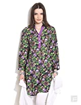 Floral Print Shirt Collar Kurti-Purple-Xl