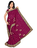 Chinco Embroidered Saree With Blouse Piece (502-C_Maroon)
