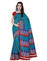 Silk Bazar Women's Tassar Silk Saree with Blouse Piece (Blue)
