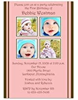 2 + 2 On Pink & Brown 1st Birthday Invitations Set Of 20