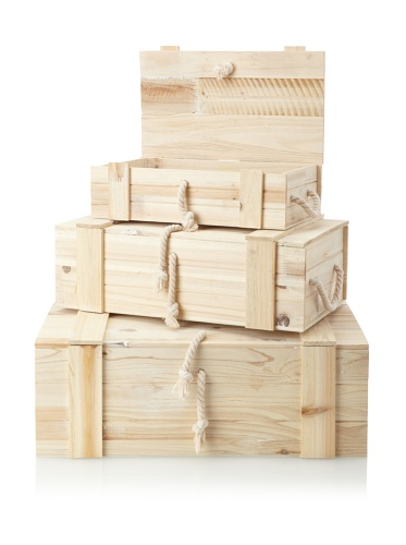 Wald Imports Set of 3 Wooden Crates/Trunks, Natural