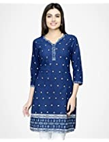 Cotton Printed Round Neck Mini Kurta-s-indigo