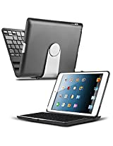 iPad Mini 4 Keyboard Case - CoverBot iPad Mini 4 Keyboard Case Station BLACK Bluetooth Keyboard For iPad Mini 4. Folio Style Cover with 360 Degree Rotating Viewing Stand Feature