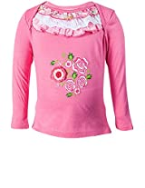 Hip Length Embroidered Pink Tops