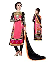 Women Georgette pink & black coloured Dress material