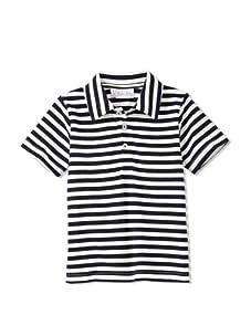 Rachel Riley Boy's Striped Polo (Ivory/Navy)