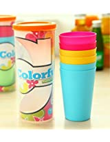 6 Piece Colorful Plastic Glass Set with Plastic Bottle for Daily Use, Travel, Outdoors, Hiking