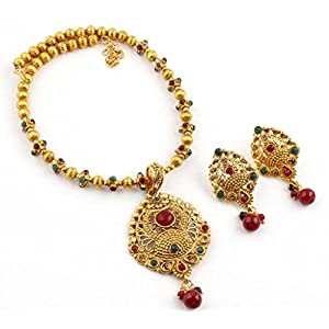 Prakruthi's Traditional Temple Jewellery Pendant Set With Drop Earring For Women_MW1029