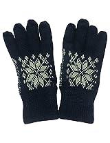 Graceway Unisex Woollen Gloves (GL2, Navy, Free Size)