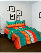 Tomatillo Nature Pure Floral 3 Piece Cotton Single Bed in a Bag Set - Orange and Blue