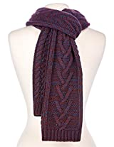 Noble Mount Mens Two-Tone Cable Knit Chillbuster Winter Scarf - Burgundy/Navy