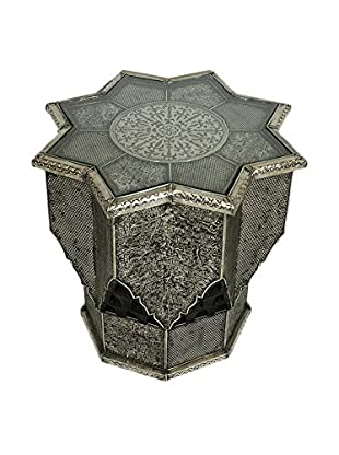 Badia Design Moroccan Star Shaped Side Table With Glass Top, Silver Nickel
