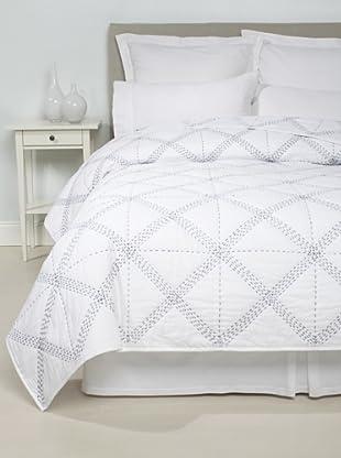 Jaipur Bedding Cross-Bar Kantha Blanket (White/Navy)