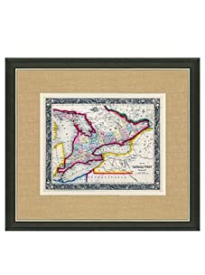 """Mitchell-Antique Map of Canada West, 1860's-1870's, 21"""" x 23"""""""