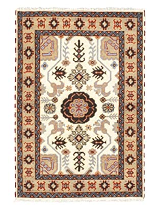 Hand-Knotted Royal Kazak Wool Rug, Cream, Khaki, 4' 1