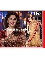 Madhuri Dixit Indian Bollywood Designer Party Wear Ethnic Women Saree, Sari - Beige, Red