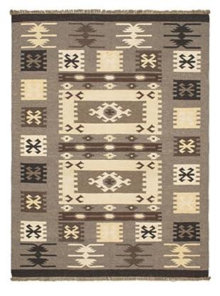 Hand Woven Kashkoli Wool Kilim, Gray, 4' 9