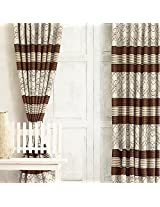 White And Brown Jacquard Premium Curtain from Cortina