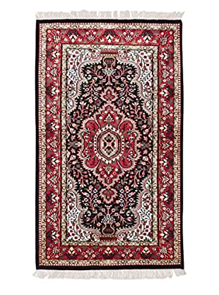 eCarpet Gallery One-of-a-Kind Hand-Knotted Kashmir Rug, Black/Red, 3' x 5'