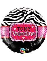 Std To My Valentine Zebra Stripes Balloon