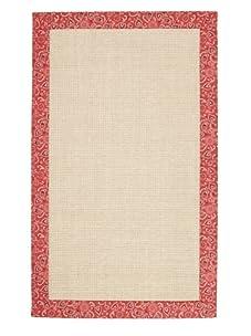 Natural Rugs Sisal Paisley-Border Rug (Crimson)