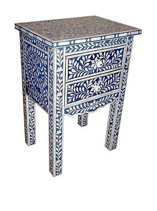 Mili Designs 2 Drawers Bone Inlay French Bedside, Blue/Cream