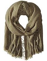 Saro Lifestyle Women's Houndstooth Design Shawl, Olive, One Size