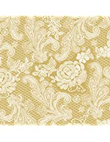 Paperproducts Design 1251112 Beverage/Cocktail Embossed Lace Royal Elegant Paper Napkin, 5 by 5-Inch, Gold/White