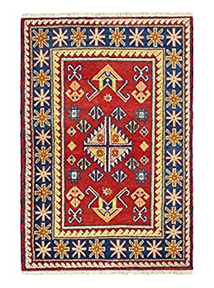 Hand-Knotted Royal Kazak Rug, Navy/Red, 4' 1
