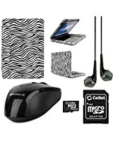 VangoddyTM Faux Leather Book Style Folio Protective Cover for Apple Macbook Pro 13.3-inch Laptops + Black VanGoddy Headphones + Black USB Wireless Mouse + 16GB Memory Card (Zebra)