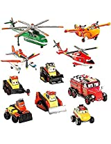 Disney PLANES: Fire & Rescue Exclusive Deluxe 10 Piece PVC Figure Play Set [Pontoon Dusty, Blade Ran
