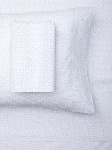 sOUP Home Okhla Flora Outline Sheet Set (White/Chambray)