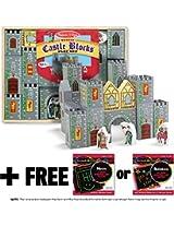 Castle Blocks 28-Piece Wooden Blocks Play Set + FREE Melissa & Doug Scratch Art Mini-Pad Bundle [053