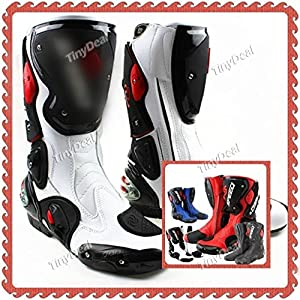 Motorcycle Motorbike Motorcross Boots Bikers Racing Knight Boot White Red Black RMP-256063 - White