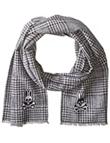 Psycho Bunny Men's Glen Plaid Reversible Scarf, Black, One Size