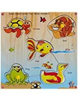 Skillofun Junior Identification Tray Water Animals I with Knobs, Multi Color